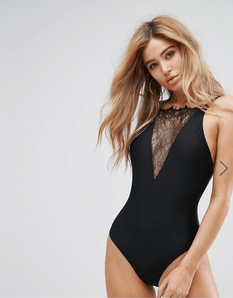 lace badpak, swimsuit sexy black kant